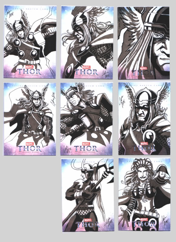 The Might Thor sketch cards - Enchantress, Loki and Thor Odinson