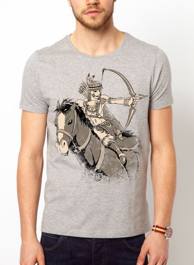 INDIAN GIRL COWBOY HORSE back ride RACE HUNT hunting VINTAGE T-Shirt