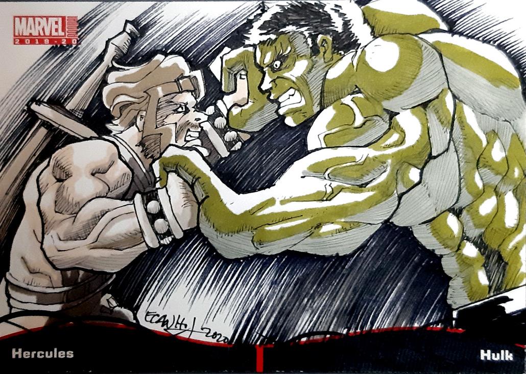 2020 MARVEL annual sketch card Pocket booklet Hercules and Hulk