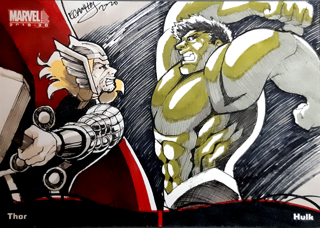 2020 MARVEL annual sketch card Pocket booklet Hulk and Thor