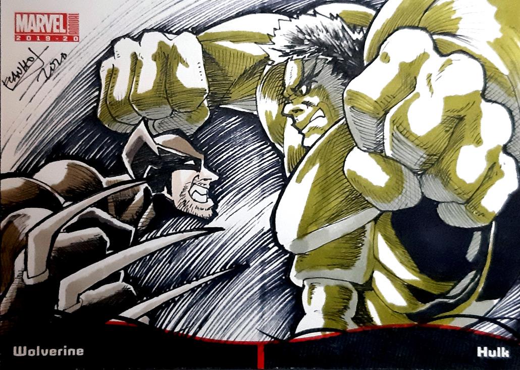 2020 MARVEL annual sketch card Pocket booklet Wolverine and Hulk